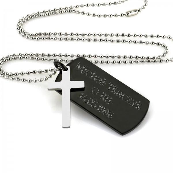 personalizowany stalowy nieśmiertelnik z krzyżem na prezent dla niego