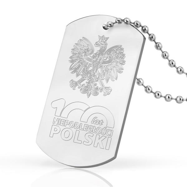 nieśmiertelnik z grawerem 100 lat niepodległości polski